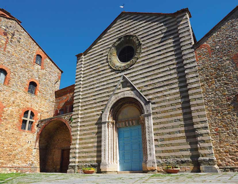 Facade of San francesco church a Romanesque- and Gothic-style Catholic church located in the center of Lucignano, Tuscany